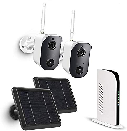 TMEZON Solar Panel Wireless Security Camera System, 1080P Battery Outdoor WiFi Camera, PIR Motion Detection, 2-Way Audio, Night Vision, IP65 WaterproofSEE