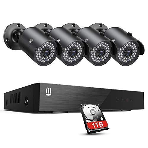 MTM 8CH 5MP CCTV Full HD Outdoor Video Surveillance Kit, H.265 + Security System DVR Camera Surveillance with 4 Cameras, 30M Night Vision, Motion Detection, Remote Monitoring, 1TB HDDSEE