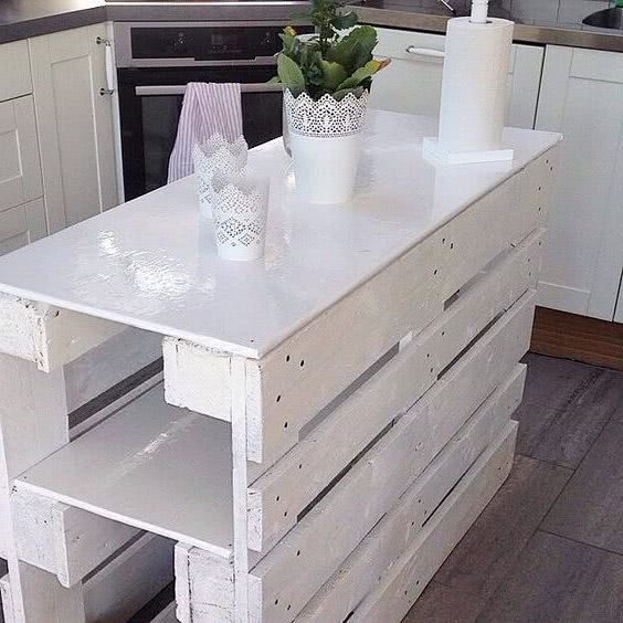 different color kitchen island