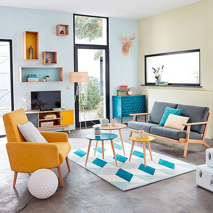A living room in two colors, light blue and beige