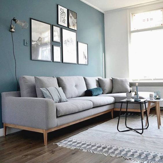 A living room painted in two colors: medium blue and gray