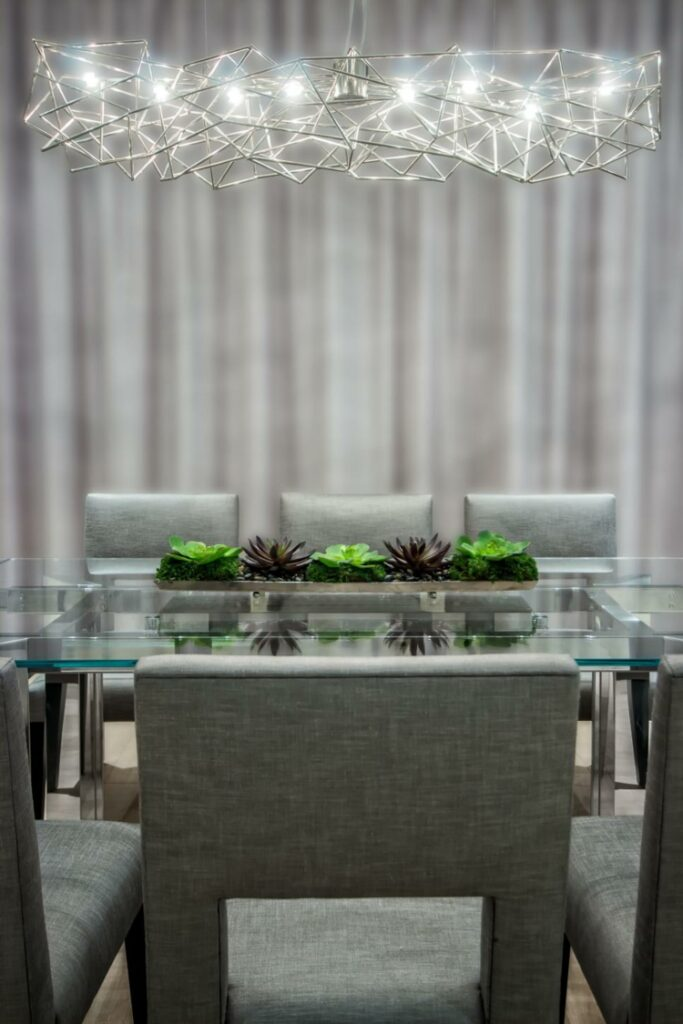 gray dining rooms modern metal effects