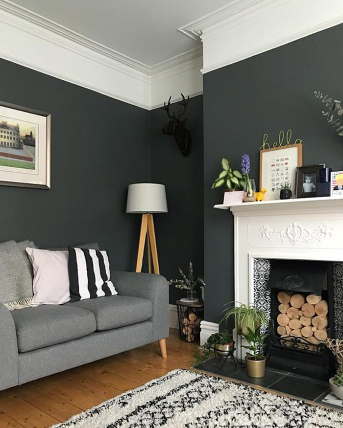 A living room painted in two colors: Black and white