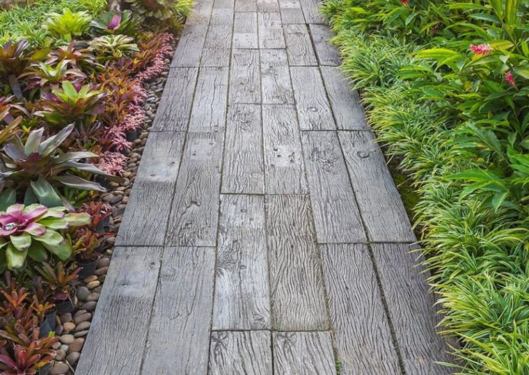 garden path with wooden slabs