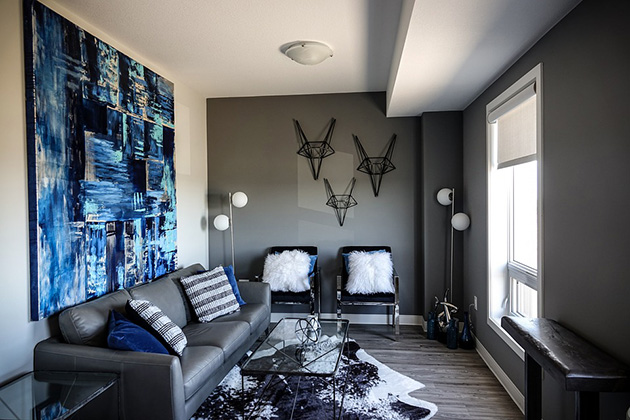 A living room painted in two colors: black and gray