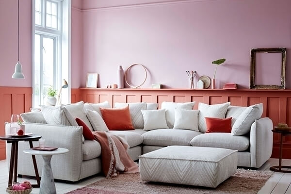 A living room painted in mauve and coral color