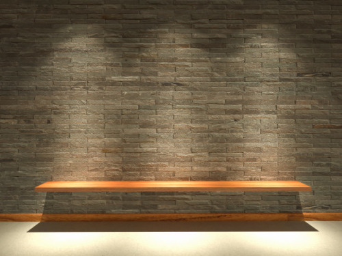 3d rendering sandstone walls are decorated lights shines board 39730 420