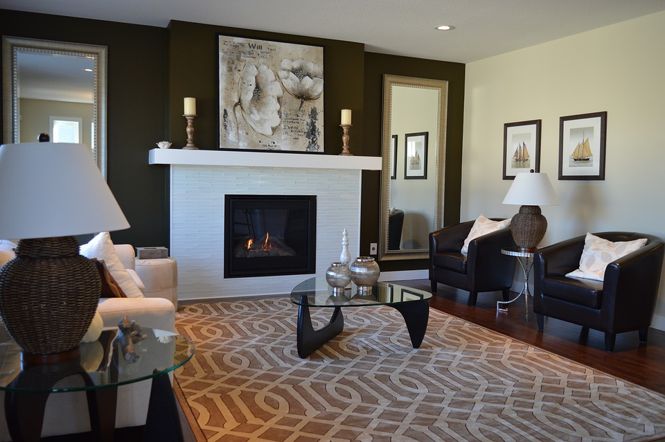 A living room painted in two colors: brown and beige