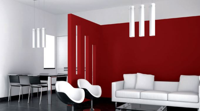 A living room painted in two colors red and white