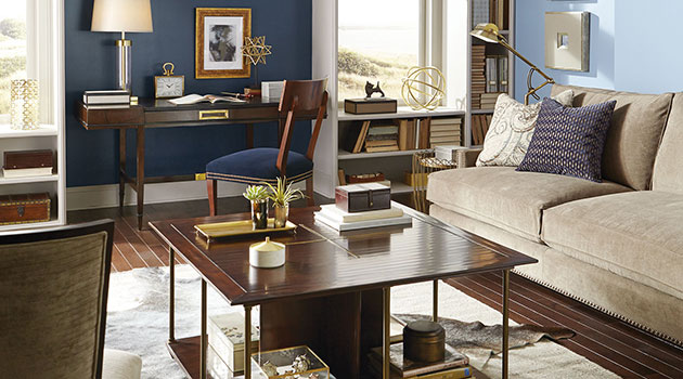Living room painted in two colors:
