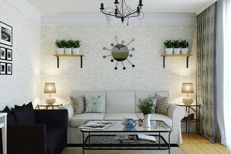 ideas to decorate a living room wall shelves pots modern