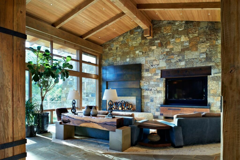 ideas how to decorate wall living room modern fire place