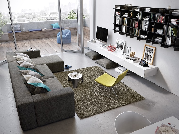ideas-to-decorate-a-living-room-wall-black-shelves