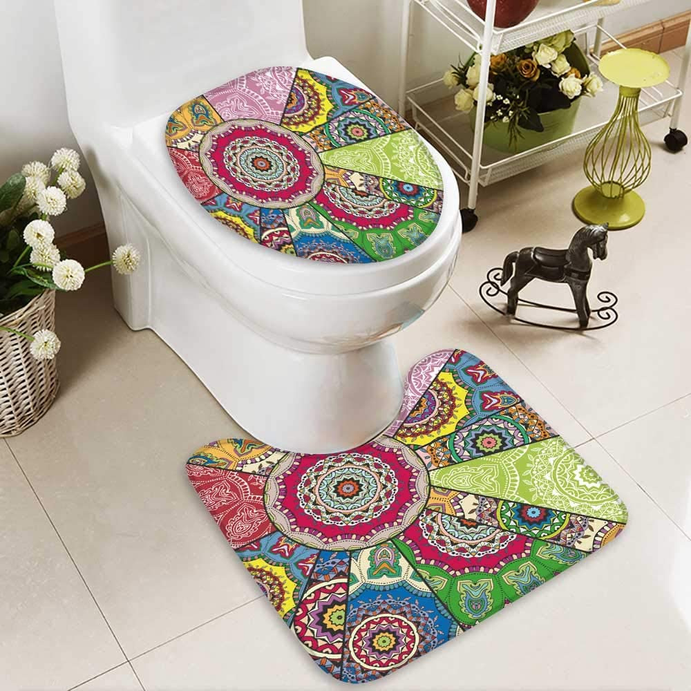 BATHROOM SET WITH ABSTRACT FLOWER PRINT