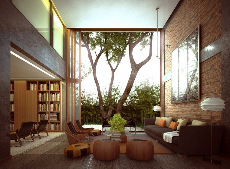 ideas to decorate a modern brick living room wall