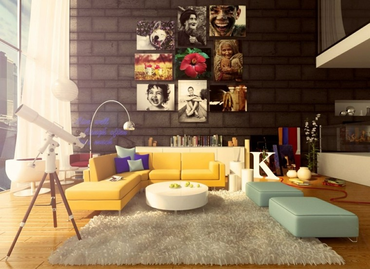 ideas to decorate a living room wall modern colored furniture