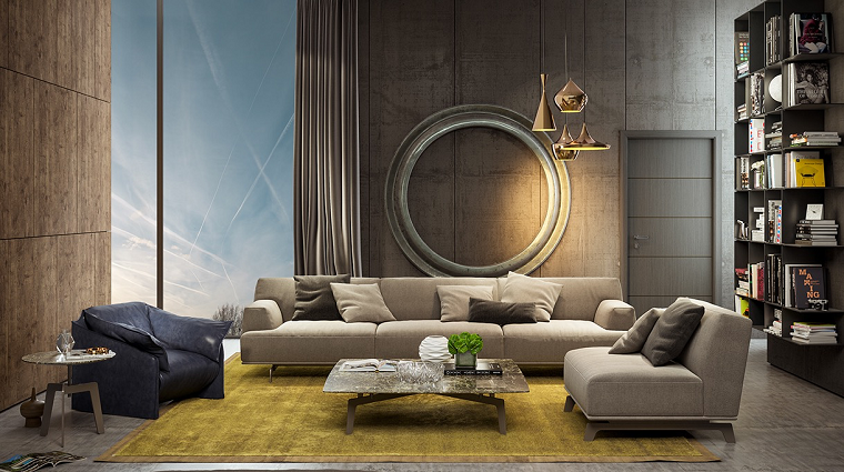 wall living room modern decorated ideas
