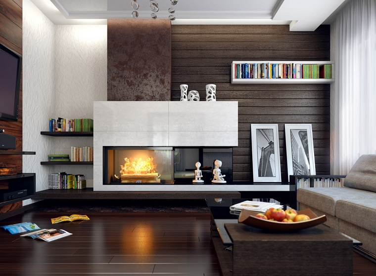 modern living room wall decorated fireplace wood paneling ideas