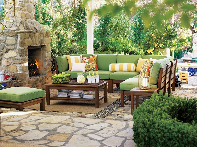 Garden designs with fireplaces and outdoor lounges