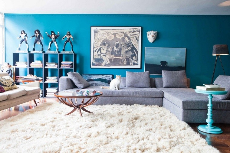 modern living room wall decorated comic tiger head ideas