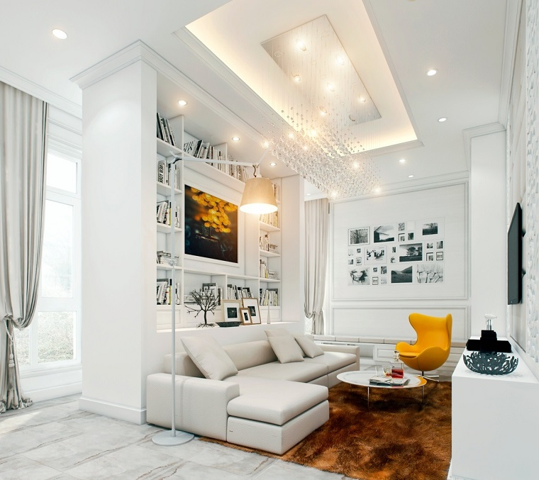 wall living room modern decorated paintings shelf built-in wood ideas