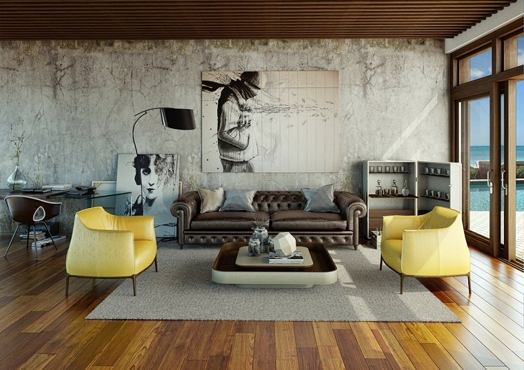 modern living room wall decorated concrete picture ideas