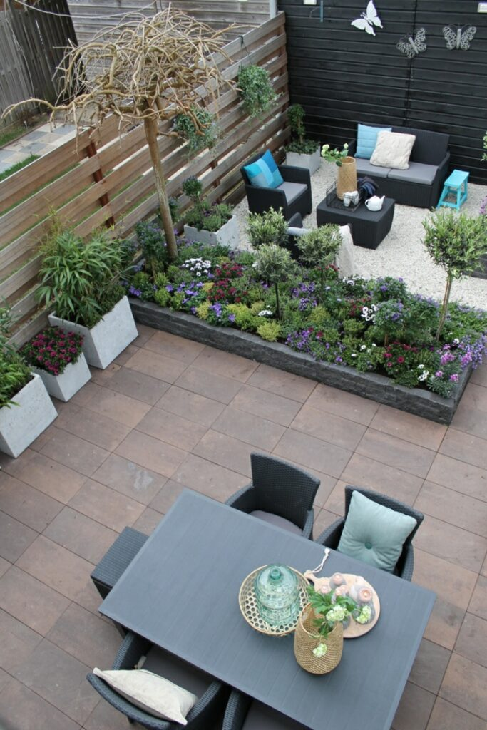 modern garden designs two levels two spaces ideas