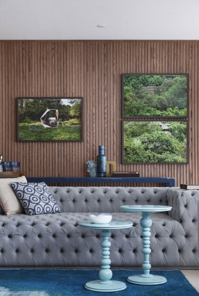 wall living room modern decorated wood paintings nature ideas