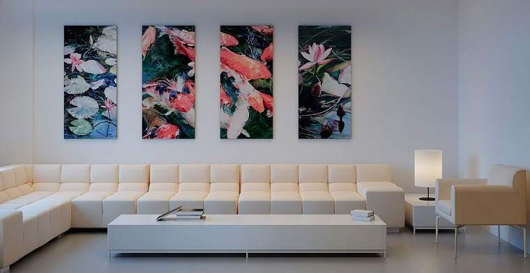 modern living room wall decorated various pictures ideas