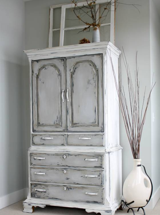 cupboard with chalk finish paint