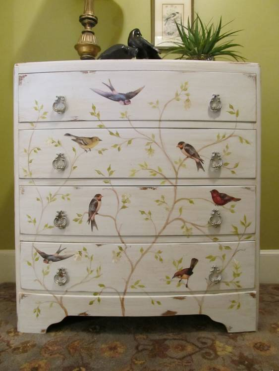 four-drawer chest with painted birds