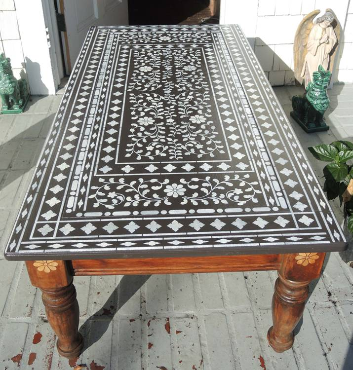 table with stencil template imitating lace