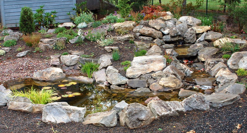 Rock garden with a pond